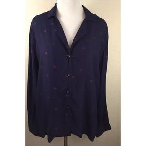 Rails Pajama Top ONLY Navy Kiss Me, size M.